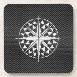 Chrome Nautical Star on Carbon Fiber Beverage Coaster