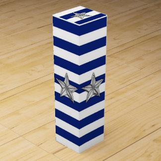 Chrome Nautical Star on Navy Stripes Wine Bottle Boxes