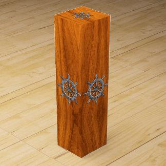 Chrome Nautical Wheel on Teak Wood Veneer Print Wine Gift Box