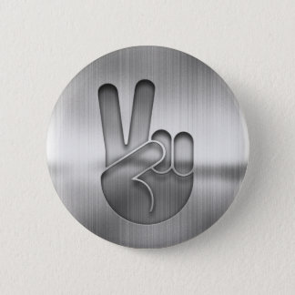 Chrome Peace Hand 2 Inch Round Button