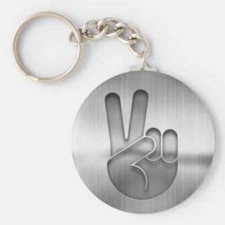 Chrome Peace Hand Keychain