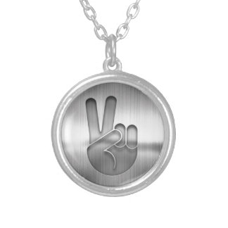 Chrome Peace Hand Silver Plated Necklace