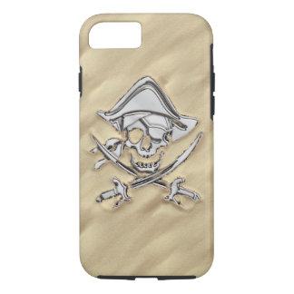 Chrome Pirate Crossbones on Sand Decor iPhone 7 Case