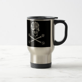 Chrome Pirate Jolly Rogers Travel Mug