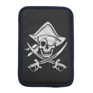 Chrome Pirate on Carbon Fiber iPad Mini Sleeve