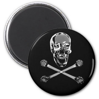 Chrome Pirate Skull and Crossbones Magnet