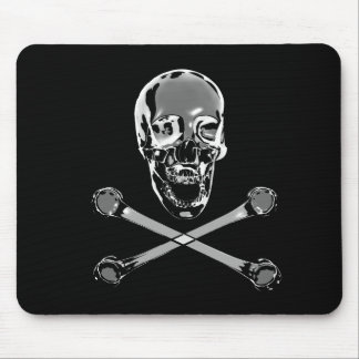 Chrome Pirate Skull And Crossbones Mouse Pad