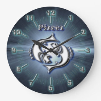 Chrome Pisces Large Clock