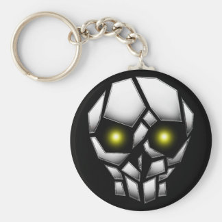 Chrome Plated Skull with Glowing Eyes Basic Round Button Keychain