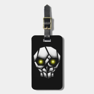 Chrome Plated Skull with Glowing Eyes Luggage Tag