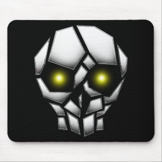 Chrome Plated Skull with Glowing Eyes Mouse Pad