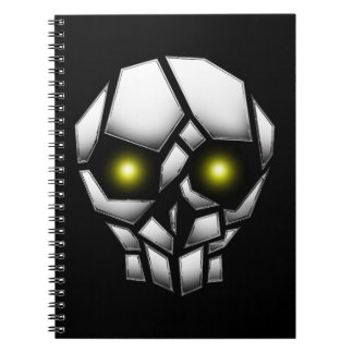 Chrome Plated Skull with Glowing Eyes Notebooks