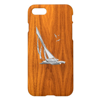 Chrome Sail Boat on Teak Wood iPhone 7 Case
