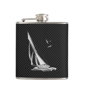 Chrome Sailboat on Carbon Fiber Print Hip Flask