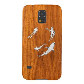 Chrome Sharks on Teak Wood Veneer Print Cases For Galaxy S5