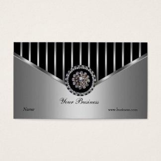 Chrome Silver Black Stripe Elegant Classy Business Card