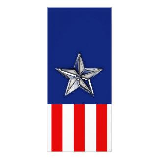 Chrome Silver Star on Festive Patriotic Colors Customized Rack Card