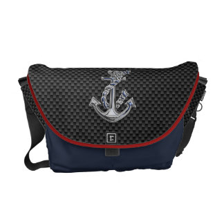 Chrome Silver Style Rope Anchor on Carbon Fiber Commuter Bag