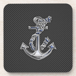 Chrome Silver Style Rope Anchor on Carbon Fiber Drink Coasters