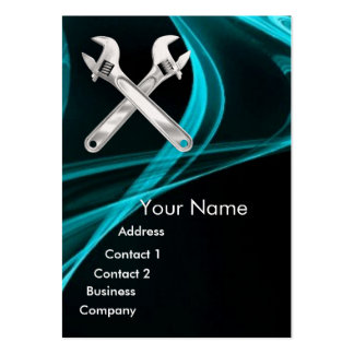 CHROME SKULL AND WRENCHES METAL MECHANICS LARGE BUSINESS CARD