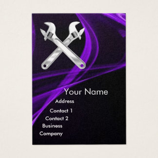 CHROME SKULL AND WRENCHES METAL MECHANICS pearl Business Card