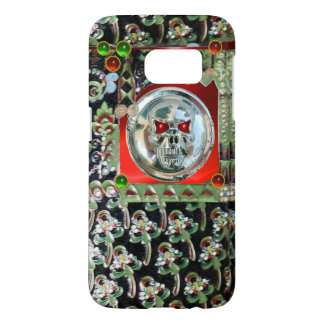 CHROME SKULL BLACK GREEN RED GEM STONES Damask Samsung Galaxy S7 Case