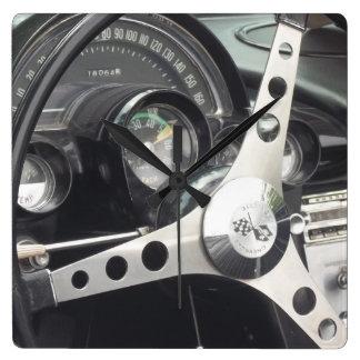 Chrome Steering wheel and black gages corvette Wallclocks