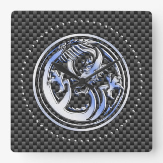 Chrome style Dragon badge on Carbon Fiber Print Square Wall Clock