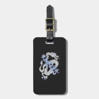 Chrome Style Dragon in Black Snake Skin Print Luggage Tag