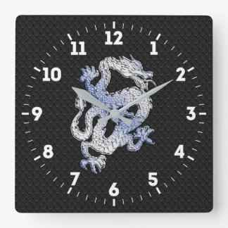 Chrome Style Dragon in Black Snake Skin Print on a Square Wall Clock