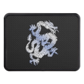Chrome Style Dragon in Black Snake Skin Print Tow Hitch Covers