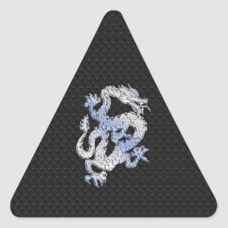Chrome Style Dragon in Black Snake Skin Print Triangle Sticker