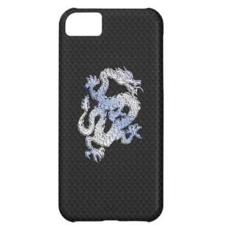Chrome Style Dragon on Black Snake Skin Print iPhone 5C Covers