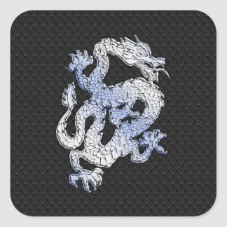 Chrome Style Dragon on Black Snake Skin Print Square Sticker