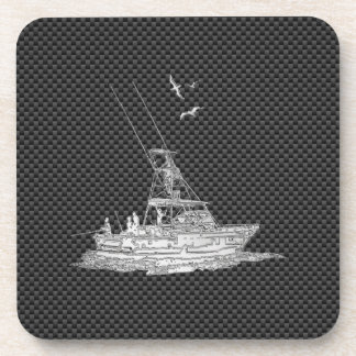 Chrome Style Fishing Boat on Carbon Fiber Drink Coaster