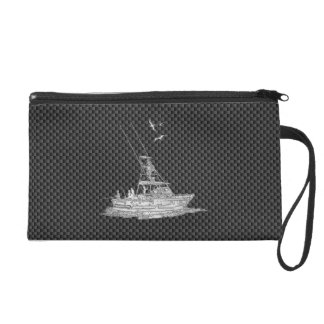 Chrome Style Fishing Boat on Carbon Fiber Wristlet Clutch