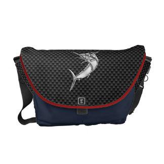 Chrome Style Marlin on Carbon Fiber Messenger Bag