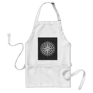 Chrome Style Nautical Compass Star on Carbon Fiber Standard Apron
