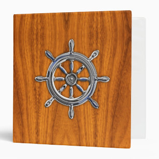 Chrome Style Nautical Wheel on Teak Veneer Vinyl Binder