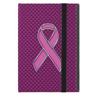 Chrome Style Pink Ribbon Awareness Carbon Fiber iPad Mini Case