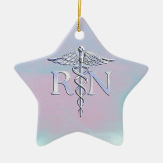 Chrome Style RN Caduceus Medical Mother Pearl Look Ceramic Ornament