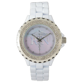 Chrome Style RN Caduceus Medical Mother Pearl Look Watch