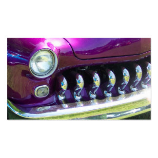 chromed out grill of a 40 s classic with purple pa business card