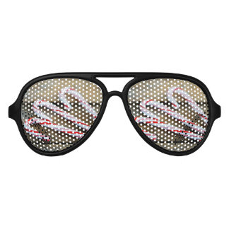 Chrstmas Candy Canes on Vintage Wood Aviator Sunglasses