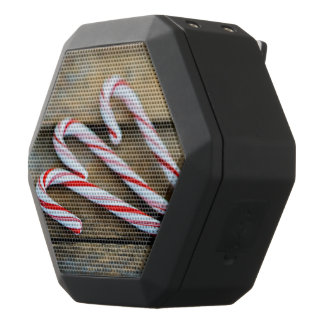 Chrstmas Candy Canes on Vintage Wood Black Bluetooth Speaker