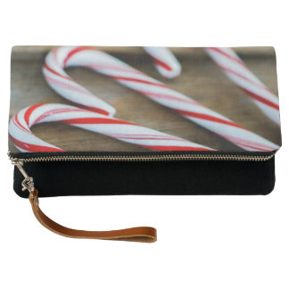 Chrstmas Candy Canes on Vintage Wood Clutch