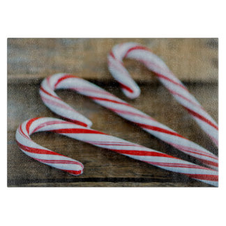 Chrstmas Candy Canes on Vintage Wood Cutting Board