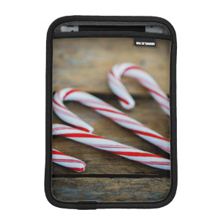 Chrstmas Candy Canes on Vintage Wood iPad Mini Sleeve
