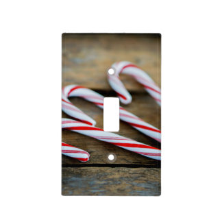 Chrstmas Candy Canes on Vintage Wood Light Switch Cover