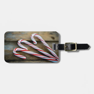 Chrstmas Candy Canes on Vintage Wood Luggage Tag